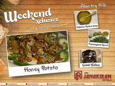 After a hectic week, you deserve leisure and good food on the weekends. Browse our hearty and delicious dishes this weekend.  #honeyPotato #GouniHalwa #PonnanganniKeerai #pullarisithelivusoap Srijanakiram Hotels on Oct 17th to 18th.