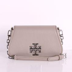 ceb9aba1ee41 NWT Tory Burch Britten Pebbled Leather Mini French Gray Crossbody Bag