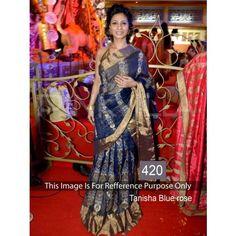 Tanisha Blue Rl Red Rose 60gm Georgette Bollywood Dress