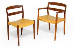 1923 Teak Dining Chairs designed by Ejner Larsen & Axel Bender Madsen for Willy Beck in 1952.