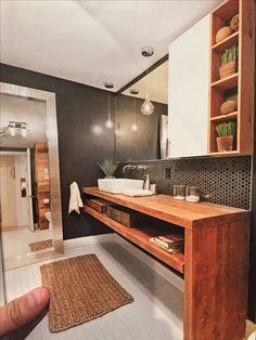 Une salle de bain rustique chic   Projets à essayer   Salles de ...