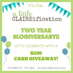 Three days left to enter!!  Happy TWO Year Blogiversary - $ 200 Paypal Cash Giveaway