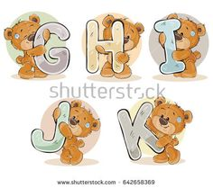Set of letters of the English, the Latin alphabet are in the clutches of funny teddy bear. Part 2 - the letters G, H, I, J, K