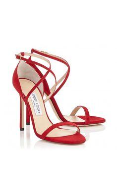 Jimmy Choo Hesper 110 Red Suede #Sandals. #women #fashion