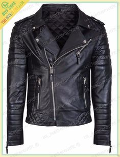 New Men's Genuine Lambskin Leather Jacket BLACK Slim fit Biker jacket Lambskin Leather Jacket, Biker Leather, Leather Men, Leather Jackets, Real Leather, Black Leather, Quilted Leather, Sheep Leather, Soft Leather