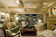 Living room interior design ceiling design white coffers recessed lighting