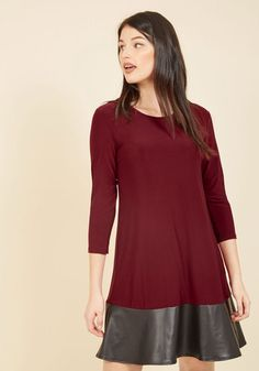Shift in Perspective Knit Dress. The edgy spin added to this burgundy dress by its black, faux-leather colorblock flips your mindset on desk-to-dinner panache! #purple #modcloth