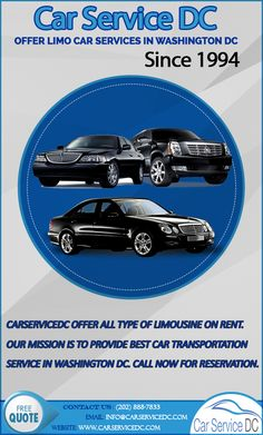 Carservicedc.com offer all type of limousine on rent.Our Mission is to provide quality car transportation service in Washington DC. Call now for reservation.