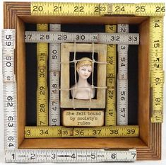 Items similar to Bound By Society Assemblage / Altered Art / Brown Yellow White / Vintage Woman Bust, Rulers / Women Empowerment / Gift for Her / Home Decor on Etsy - Assemblage Art Found Object Art, Found Art, Homemade Art, Assemblage Art, Box Art, Mixed Media Art, Shadow Box, Altered Art, Collage Art