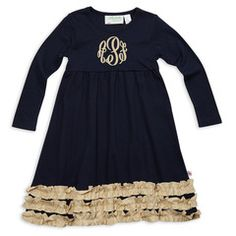 Check out this Navy Tan Squinchy Long Sleeve Cotton Empire Dress for $25 or find your favorite gifts at Lolly Wolly Doodle. Click on the link to receive three dollars off your next order!