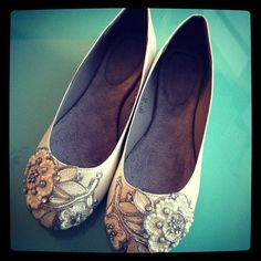 French Knot Lace Bridal Ballet Flats, Wedding Shoes - Pick your own shoe and crystal color