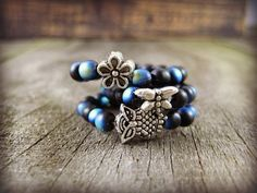 Stackable Stretch Rings Choice of Silver Dragonfly Flower Owl Charm Beaded Stretch Ring Black AB Glass Beads Beaded Band Beaded Ring #bestofEtsy #etsyretwt