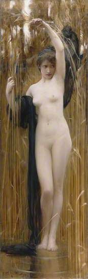 Arthur Hacker, Syrinx, 1892, Oil on canvas. Syrinx was the daughter of a Greek river god. in order to escape rape by the god Pan she was turned into a reed. the moment of her transformation is shown here.