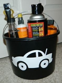 car wash/detailing gift basket...for a new driver, car fanatic or dad on his birthday or father's day...include things like car wash soap, car wax, tire cleaner, hand washing mitt, window cleaner, and paper towels in a big bucket with a handle or include things like an air freshener, flashlight, ice scraper, jumper cables, and stain remover in a basket they can keep in the trunk #xmas_present #Black_Friday #Cyber_Monday