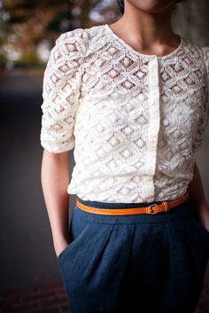 White lace top, Orange belt, navy skirt