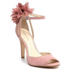 Calvin Klein Olivia Pink Flower Sandals Make an impression even as you walk away. Pink suede high heel evenings sandals with an airy floral embellishment at back of heel. Worn once. ✨Price Firm✨ Calvin Klein Shoes Sandals