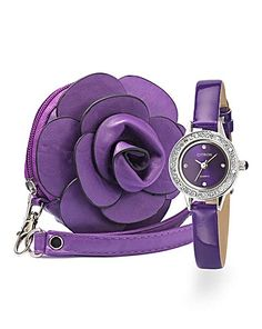 Ladies Glitzy Watch and Flower Purse Set For my Grandaughter Rebekah My Wardrobe, Flower Designs, Watches, Purses, Lady, Flowers, Pink, Stuff To Buy, Fashion