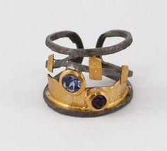 Byzantine ring Wide band adjustable wrap multi by silverjewelrygr