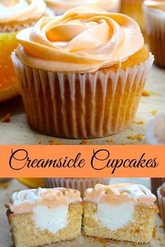cupcakes are a delicious filled cupcake with creamy orange buttercrea. Creamsicle cupcakes are a delicious filled cupcake with creamy orange buttercrea.Creamsicle cupcakes are a delicious filled cupcake with creamy orange buttercrea. Just Desserts, Delicious Desserts, Dessert Recipes, Yummy Food, Summer Cupcake Recipes, 6 Cupcake Recipe, Wedding Cupcake Recipes, French Desserts, Orange Creamsicle
