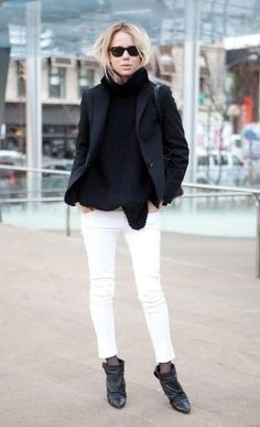 I love white jeans in winter. With a chambray shirt, cheetah scarf ...