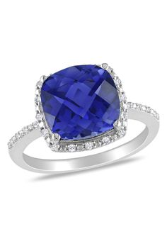 5.75CT Created Sapphire & Diamond Ring In Silver