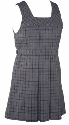 School Uniform Girls Plaid Jumper Tunic With Attached Belt