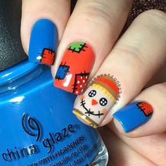 Scarecrow Nails  I can left to pass this fall without try some scarecrows on my nails  Matte version and tutorial will be up later  I used  @chinaglazeofficial License & registration pls  @opi-products  Brights Power  Any nude polish  @glistenandglow1 Hk Girl top ✨coat  Details hand painted with acrylic  paint