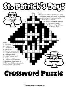 St. Patrick's Day Crossword Puzzle - Free Coloring Pages for Kids - Printable Colouring Sheets