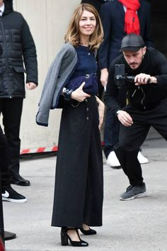 Sofia Coppola is seen arriving at Chanel Fashion show during Paris Fashion Week : Haute Couture Spring/Summer 2018 on January 23, 2018 in Paris, France.