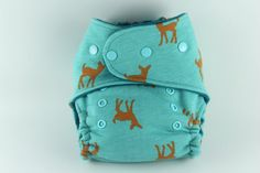 Turquoise Deer One Size Fitted Cloth Diaper with Super Heavy Cotton Fleece and Teal Cotton Velour with Seaspray Snapsby BICKLEBEAR, $28.00  http://bicklebear.etsy.com