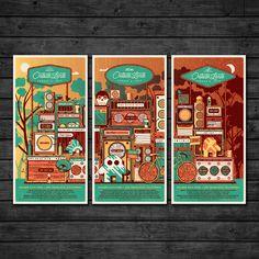 2015 Outside Lands Triptych Set outside lands san francisco nathan goldman dan kuhlken triptych poster festival dkng