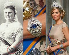 Queen Máxima is wearing the diamond and sapphire bracelets of Queen Emma, second wife of King Willem III. Royal Crown Jewels, Royal Crowns, Royal Tiaras, Royal Jewelry, Tiaras And Crowns, Jewellery, Royal Families Of Europe, Diamond Tiara, Dutch Royalty