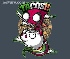 Tacos and Unicorns by jmlfreeman - Shirt sold on January 1st at http://teefury.com - More by the artist at http://jmlfreeman.deviantart.com/