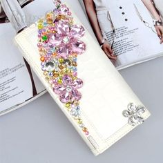 Fashion Hand Made Colorful Crystal Leather Long Wallet for Ladies