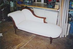 simple white and timber Victorian lounge chair