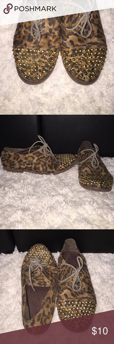 Cheetah studded sneakers Cheetah print, studded, lace up shoes Foreign Exchange Shoes Sneakers