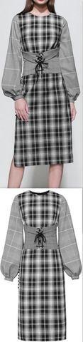 Corset-Belted Plaid Dress