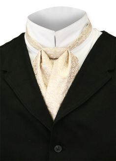 Satin Puff Tie - Cream Arlington, Gentleman's Emporium, Item: 003106 $16.95