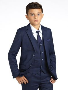 This 5 piece suit features an on trend check pattern on the blazer, trousers, cravat and accessories. The Henry is a complete package and also comes with a crisp white shirt and a navy tie and pocket square to complement perfectly.  See the suit here >>> https://www.rococlothing.co.uk/boys/boys-suits/boys-navy-check-suit/  #roco #suit #kidsfashion #wedding #formal