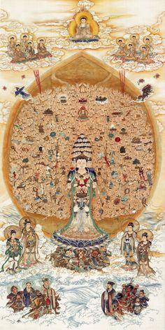 Quan yin, bodhisattva of compassion, thangka
