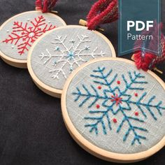 Snowflakes - Modern Embroidery Pattern - Set of 3 Snowflake Designs (PDF Digital. Hungarian Embroidery, Learn Embroidery, Japanese Embroidery, Hand Embroidery Stitches, Modern Embroidery, Crewel Embroidery, Hand Embroidery Designs, Vintage Embroidery, Embroidery Techniques