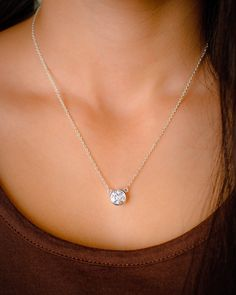 Want want want! Large Solitaire CZ Necklace - Bezel set in Sterling Silver Large Diamond Substitute Simple Necklace on Etsy, $29.00