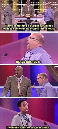 """omg-its-le-me: """" best-of-memes: """" Steve Harvey losing faith in the human race one family at a time. """" You can actually see the moment his soul is crushed """""""