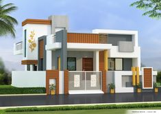 House Front Wall Design, Bungalow House Design, Modern House Design, Model House Plan, My House Plans, Building Elevation, House Elevation, Front Elevation Designs, Independent House