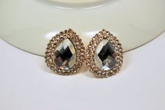 Vintage Large Faceted Clear Rhinestone Pierced by CrazyAuntDesigns