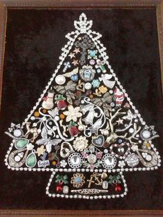 Vintage jewelry christmas tree.  Made by me!