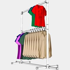 FORMUFIT - PVC Clothing Rack FITkit, $15.80 (http://www.formufit.com/pvc-clothing-rack-fitkit/)