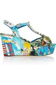 Dolce & Gabbana Portofino crystal-embellished printed faille wedge sandals | NET-A-PORTER
