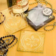 Fleur De Lis Design Glass Coaster Set Favors