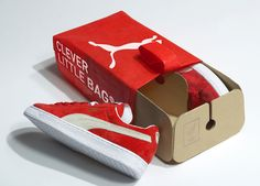Clever Little Bag by Yves Béhar for Puma. An award-winning reusable shoe bag for the sportsbrand Puma which replaces the traditional cardboard shoe box, with an eco-friendly packaging that is half bag and half box.